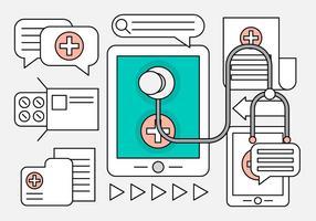 Lineares ícones médicos para Web