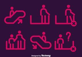 Vector Pink Escalator Elemento Icons