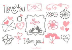 Doodles amor desenhado mão bonito vetor