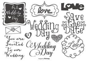 Rotulação do casamento bonito e Doodles