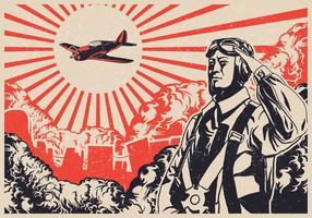 Bombardeiro da Segunda Guerra Mundial Kamikaze vetor