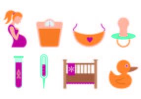 Jogo de ícones da maternidade vetor