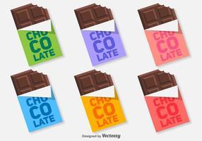 Colorido Plano Chocolate Bar Icons Vector