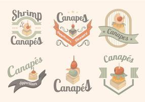 Rótulo de Menu canapés Alimentos Gourmet vetor