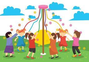 Ilustração Maypole Crianças vetor