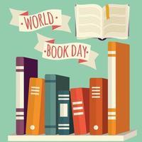 dia mundial do livro, livros na prateleira com banner