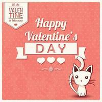 cartão de dia dos namorados com mensagem tipográfica e gatinho vetor