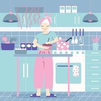 uma mulher em sua cozinha cozinhando, com comida.