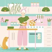 uma mulher em sua cozinha com comida e cachorro.