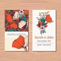 cartão de convite de casamento com flor desenhada à mão vetor