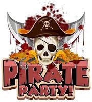 design de fonte para a palavra festa do pirata com caveira e espadas vetor