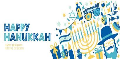 feriado judaico hanukkah com símbolos de chanukah. vetor