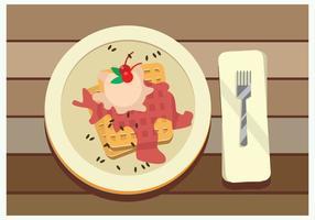Waffles belgas com Molho de Morango E Vector Cherry Topping