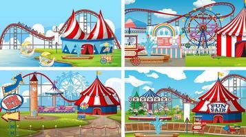 quatro cenas com muitos passeios na feira de diversões vetor
