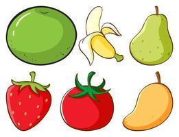 grande conjunto de diferentes tipos de frutas e vegetais vetor