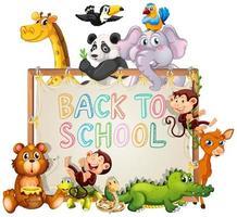modelo de volta às aulas com animais vetor