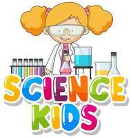 design de fonte para crianças de ciência da palavra com criança no laboratório vetor