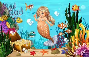 sereia gorda e peixes no mar vetor