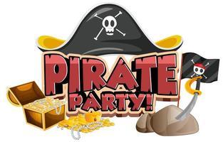 design de fonte para a palavra festa do pirata com chapéu e ouro vetor