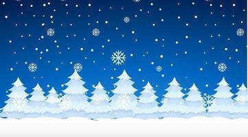 cena com neve nos pinheiros