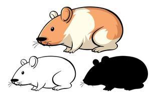 conjunto de desenho de hamster vetor