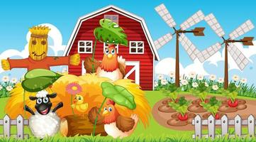 fundo de tema de fazenda com animais de fazenda