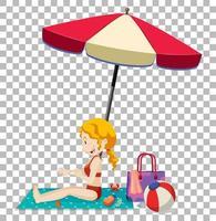 garota tomando banho de sol no colchão da praia vetor