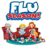 sinal da temporada de gripe com membro da família