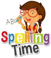 design de fonte para tempo de soletração de palavras com menina escrevendo abc vetor