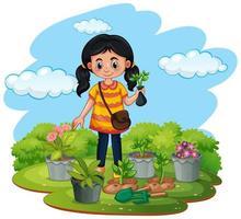 cena com criança plantando árvores no jardim vetor