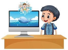 menino feliz ao lado da tela do computador com cena do oceano vetor