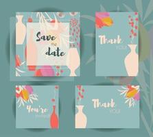modelos de cartão de convite de casamento vetor