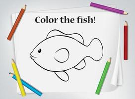 planilha de colorir peixes infantis vetor