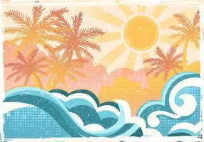 Praia tropical no estilo Plano vetor
