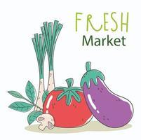 menu saudável e composição de alimentos frescos vetor