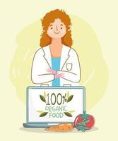 médico nutricionista com laptop e comida fresca e saudável vetor