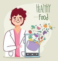 médico nutricionista com smartphone e alimentos frescos e saudáveis vetor