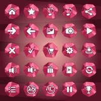 conjunto de botões de ícone e polígono estilo vermelho vetor