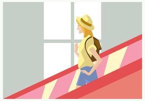Menina do viajante Com chapéu no Escalator vetor