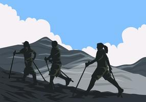 Uma equipe de Nordic Walking vetor