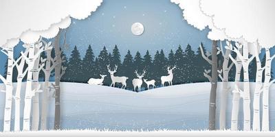 papel arte estilo veados na cena da floresta de inverno vetor