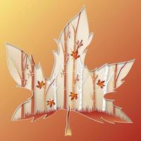 design de corte de papel em forma de folha de bordo com cena de floresta vetor