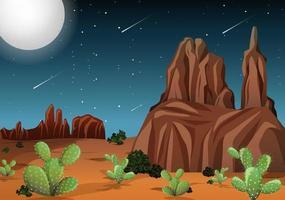 deserto com montanhas rochosas e cactos vetor
