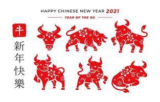 boi do zodíaco chinês vermelho vetor
