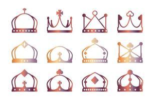 Ícones da coroa Lineart vetor