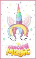 logotipo mágico de unicórnio em cor pastel vetor