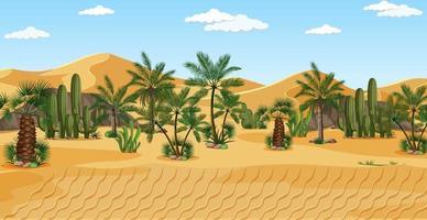 deserto com paisagem de palmeiras vetor