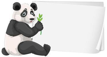 modelo de sinal em branco com panda fofo vetor