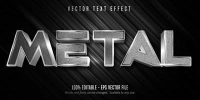 texto em metal, efeito de texto editável de estilo metálico em prata vetor