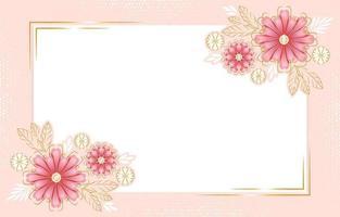 fundo floral com detalhes dourados vetor